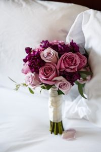 Purple Roses Bridal Bouquet at an intimate wedding